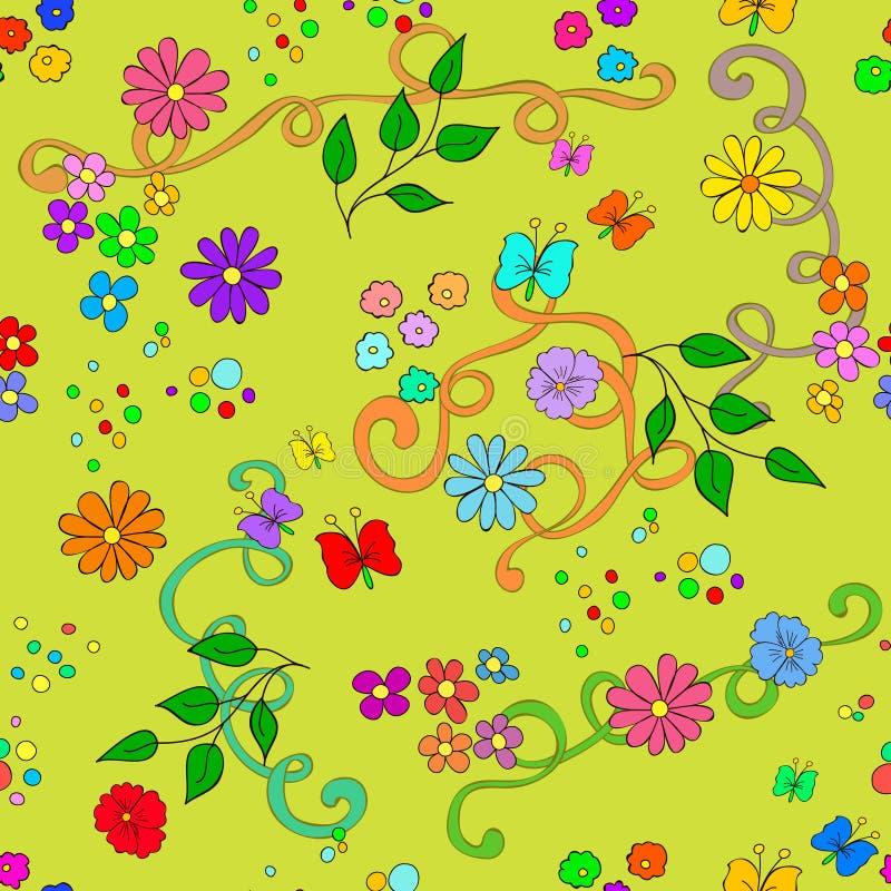 与花、叶子、漩涡和蝴蝶的儿童` s夏天无缝的样式 向量例证