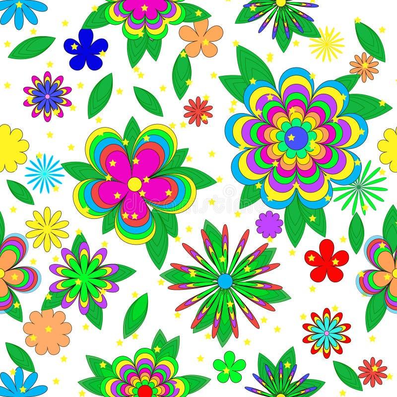 与花、叶子和星的儿童的动画片无缝的夏天样式 皇族释放例证