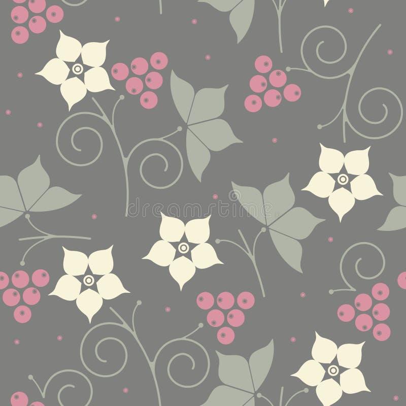 与花、叶子和莓果的装饰无缝的样式 向量例证