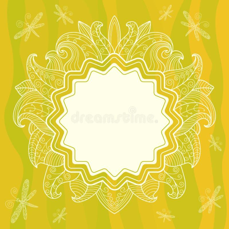 与花、叶子和dra的夏天透雕细工框架 向量例证