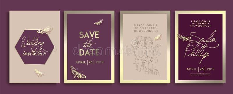 与花、天使和蝴蝶的婚姻的邀请在金子纹理 在金背景,艺术性的盖子的豪华喜帖 向量例证