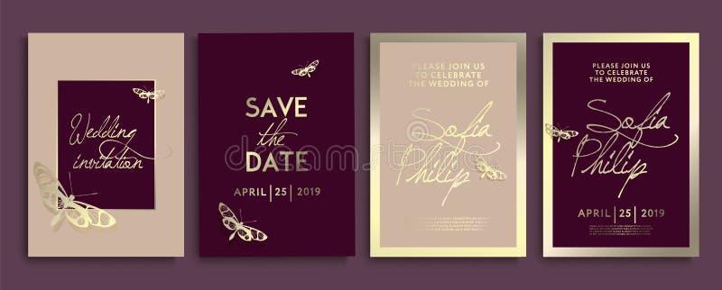 与花、天使和蝴蝶的婚姻的邀请在金子纹理 在金背景,艺术性的盖子的豪华喜帖 库存例证