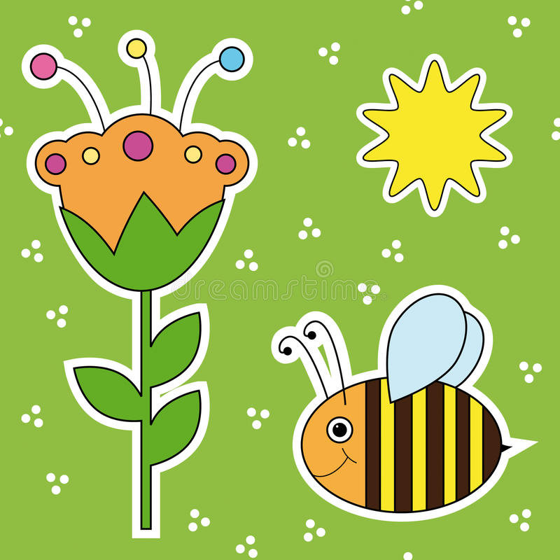 与花、蜂和星期日的纹理 皇族释放例证
