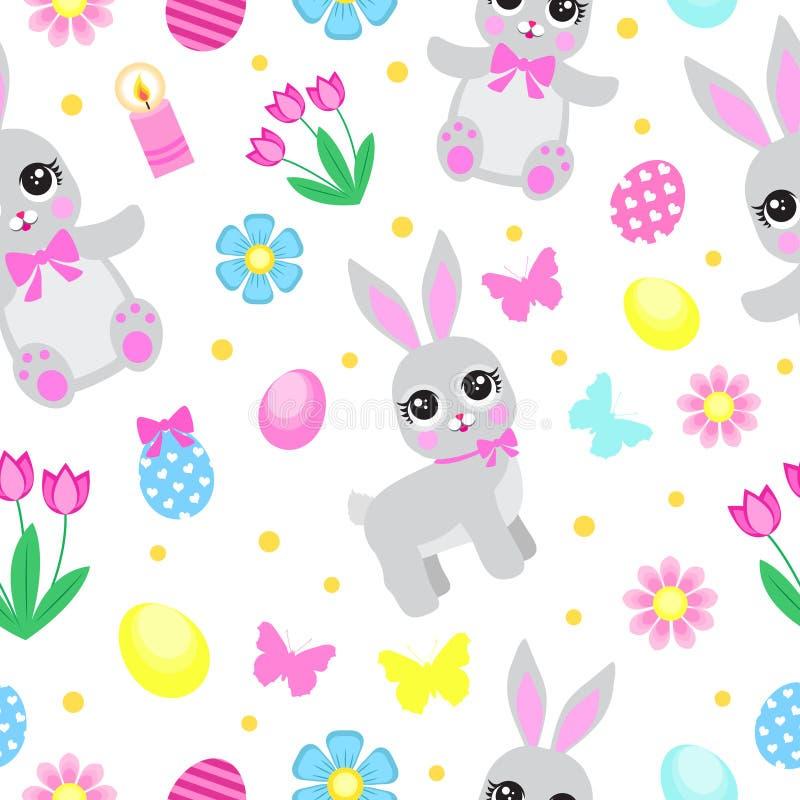 与花、蝴蝶、兔子和鸡蛋的复活节无缝的样式 春天逗人喜爱的重复的纹理 孩子的,婴孩 皇族释放例证
