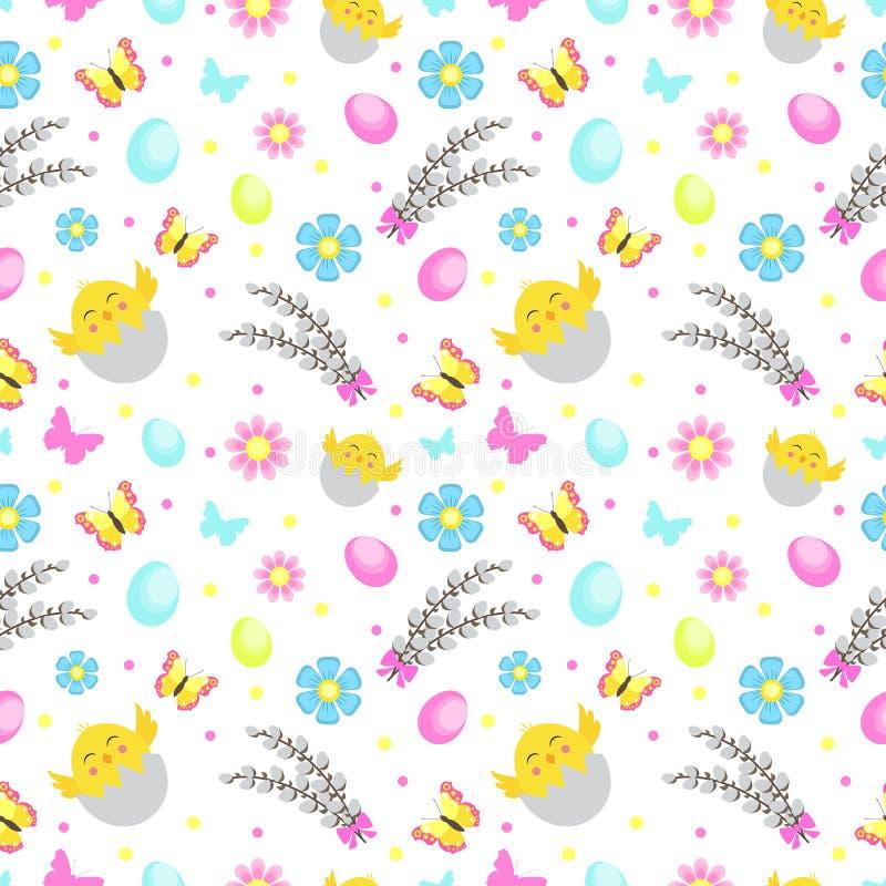 与花、蝴蝶和鸡蛋的复活节无缝的样式 春天逗人喜爱的重复的纹理 孩子的,婴孩,孩子 库存例证