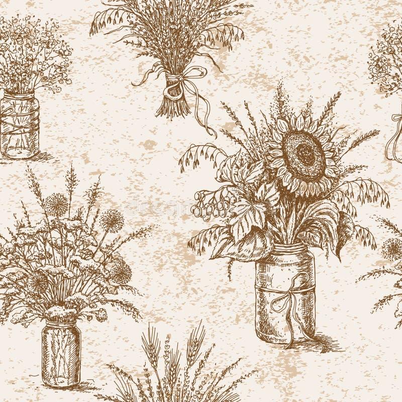 Download 与花、谷物和干草本花束的样式在鲁斯 向量例证. 插画 包括有 装饰, 等高, 艺术, 花卉, 无缝, 丝带 - 59100334