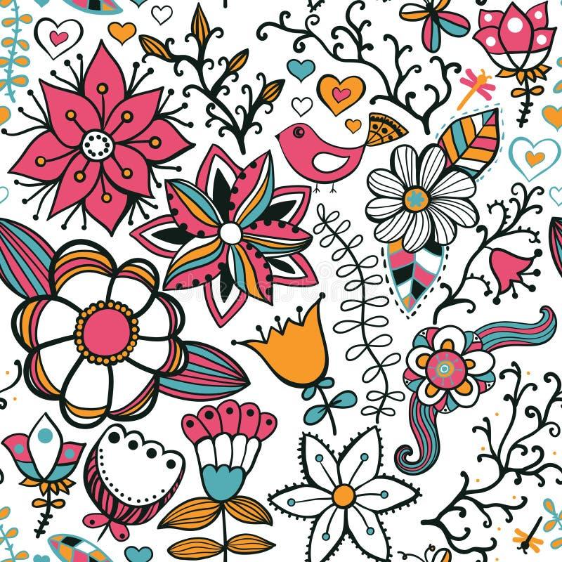 与花、鸟和蝴蝶的无缝的纹理 无缝的p 皇族释放例证