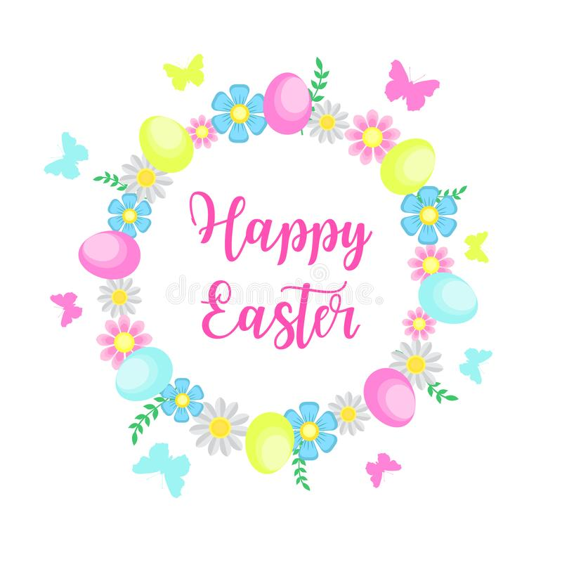 与花、鸡蛋和蝴蝶的愉快的复活节逗人喜爱的春天明信片 也corel凹道例证向量 皇族释放例证