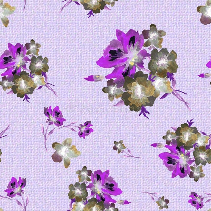 与花丁香和肌力花束的水彩无缝的样式在粗糙的编织的背景浅紫色的布料的  皇族释放例证