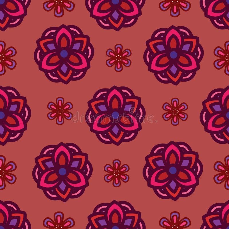与花主题的无缝的样式与非常美好的颜色 与葡萄酒花卉元素的样式背景 向量例证