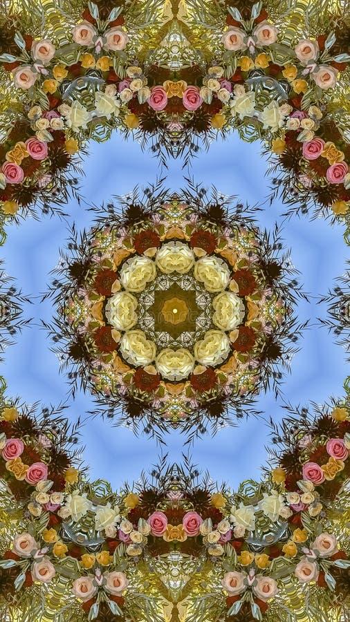与花五颜六色的斑点的垂直的生动的显示在圆安排的在婚礼在加利福尼亚 库存照片