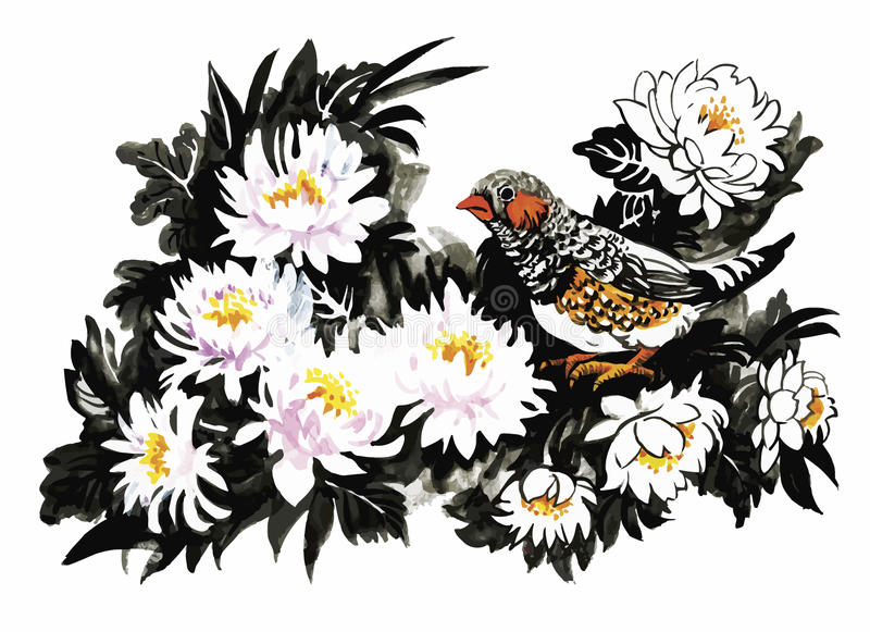 与花五颜六色的样式的热带鸟在白色背景导航例证 库存例证
