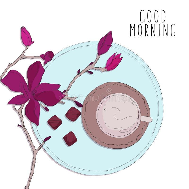 与花传染媒介剪影的早晨咖啡 有甜点的杯,咖啡馆例证 花卉植物的印刷品 向量例证