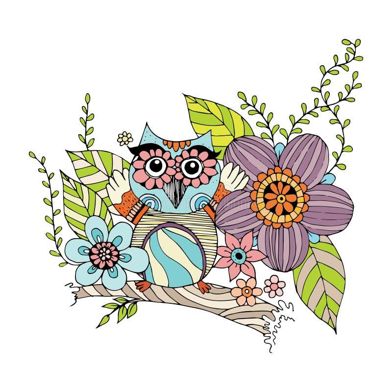 与花传染媒介的猫头鹰乱画 向量例证