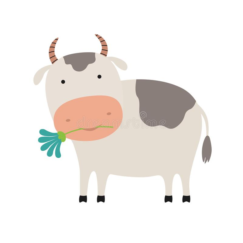 与花例证的逗人喜爱的动画片母牛 向量例证