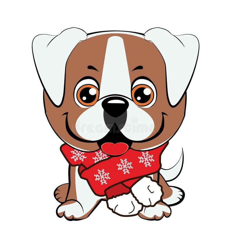 与花动画片手拉的传染媒介例证的逗人喜爱的小狗 能为T恤杉印刷品,孩子穿戴时尚设计,婴孩sho使用 向量例证