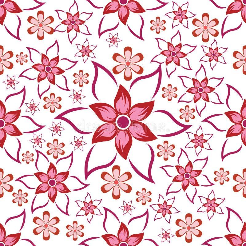 与花卉主题的无缝的样式与非常美好的颜色 与桃红色花卉主题的无缝的样式背景 库存例证