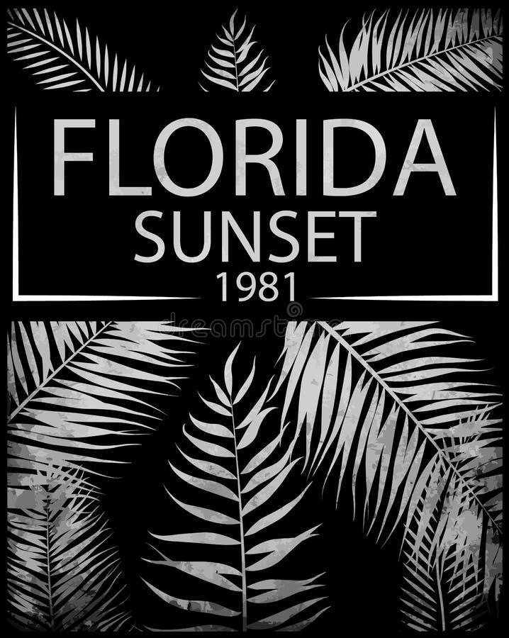 与花卉例证的佛罗里达印刷术T恤杉印刷品的;v 向量例证