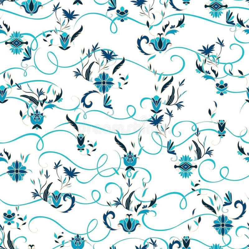与花卉元素的无缝的样式 传统阿拉伯装饰品 贺卡的,横幅,海报,印刷品,墙壁设计模板 皇族释放例证