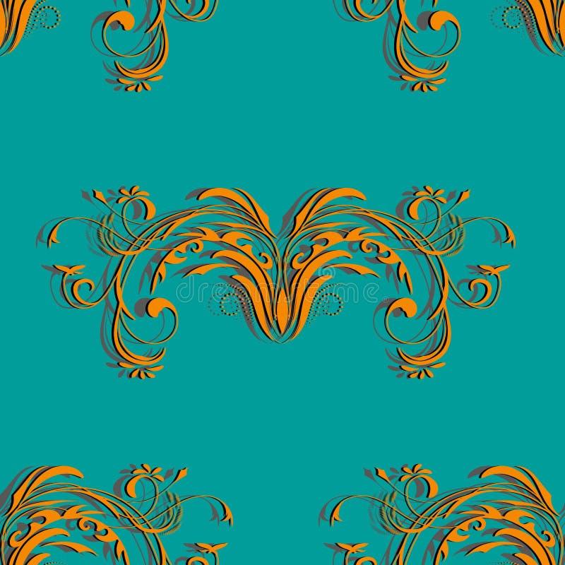 与花卉元素抽象装饰品的橙色无缝的葡萄酒样式在海波浪的背景颜色 向量例证