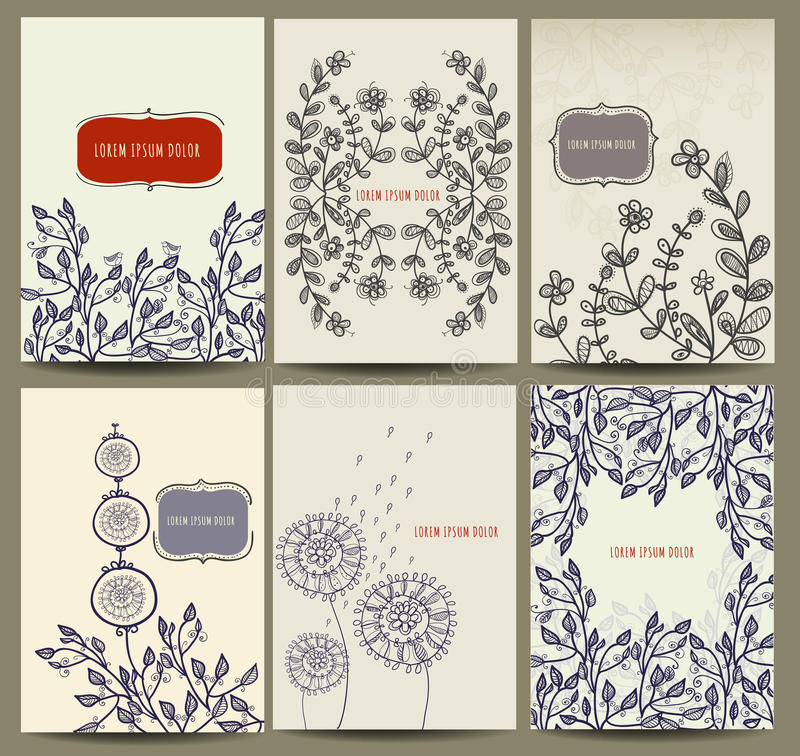 与花卉元素的手拉的卡片收藏 向量例证