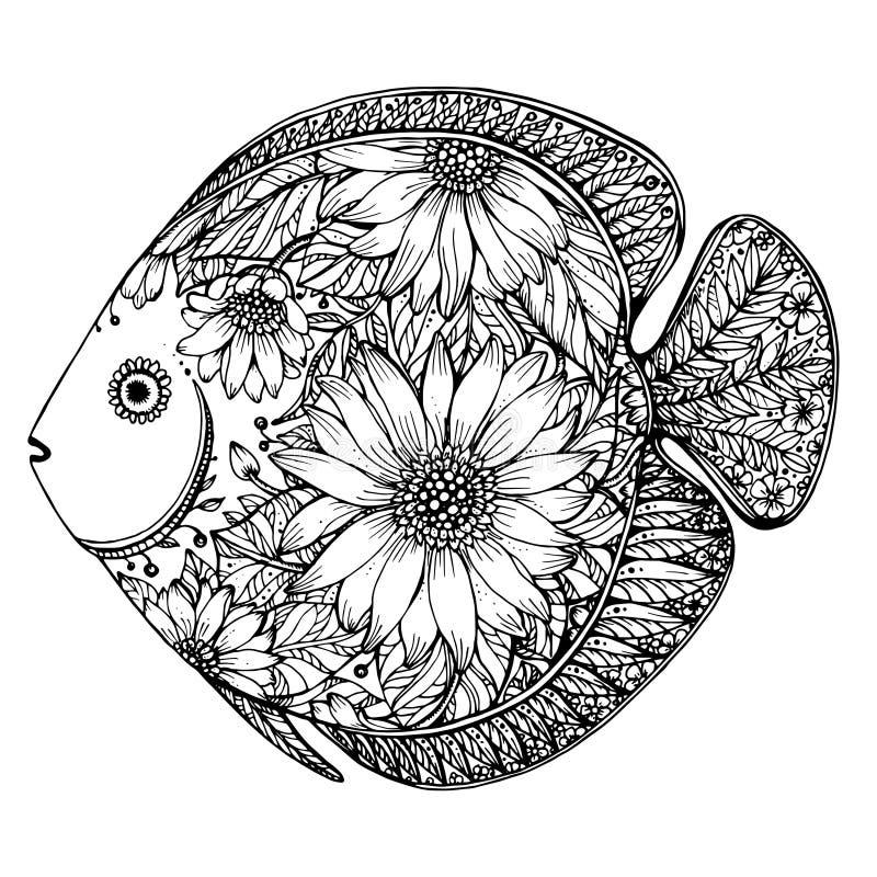 与花卉元素的手拉的鱼 库存例证