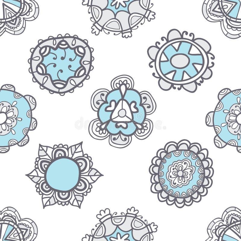与花卉元素的抽象无缝的样式 种族纹理 库存例证