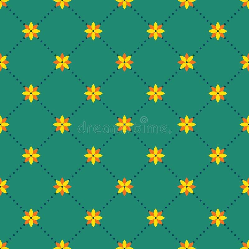 与花卉元素的抽象无缝的样式 向量例证