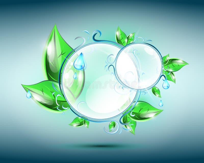 与花卉元素的玻璃球形 库存例证