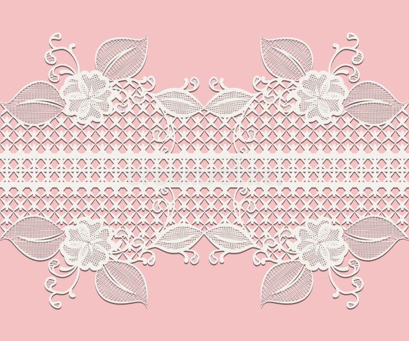与花卉元素设计贺卡的或在桃红色隔绝的婚礼邀请的无缝的白色鞋带丝带 向量例证