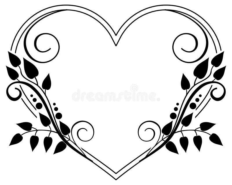 与花卉剪影的心形的黑白框架 光栅剪贴美术 皇族释放例证