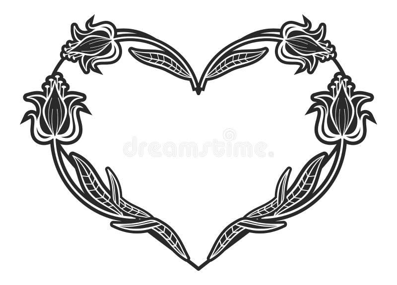 与花卉剪影的心形的黑白框架 皇族释放例证