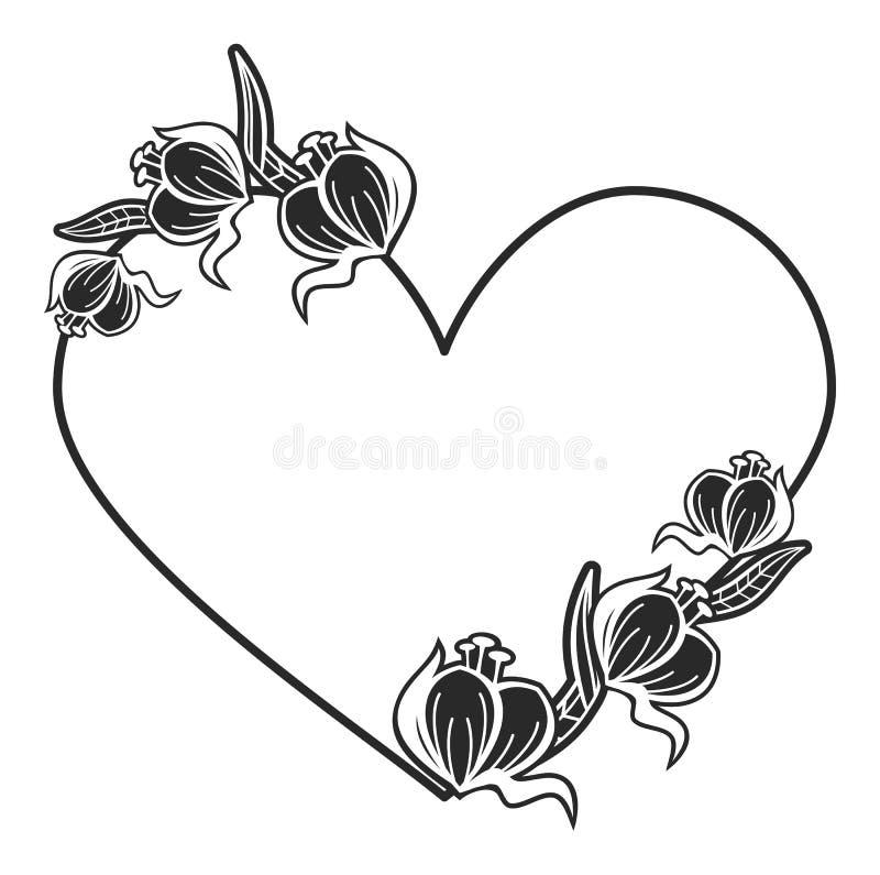 与花卉剪影的心形的黑白框架 库存例证