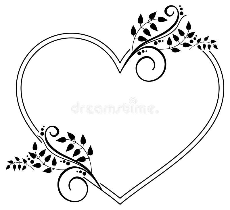 与花卉剪影的心形的黑白框架 Rast 库存例证