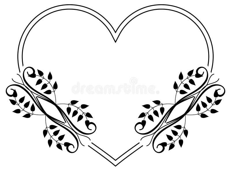 与花卉剪影的心形的黑白框架 Rast 皇族释放例证