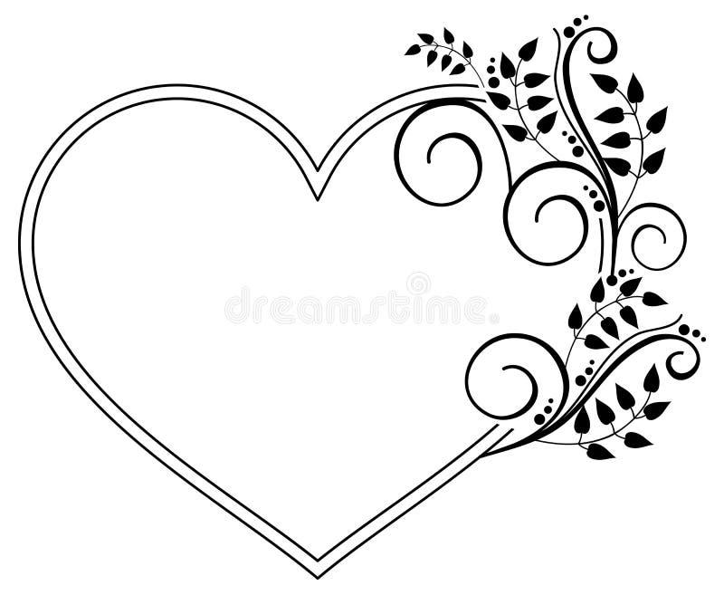 与花卉剪影的心形的黑白框架 Rast 向量例证