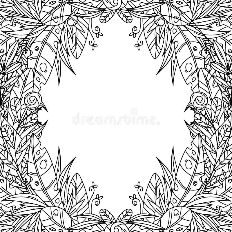 与花卉动画片框架的美丽的贺卡 库存例证