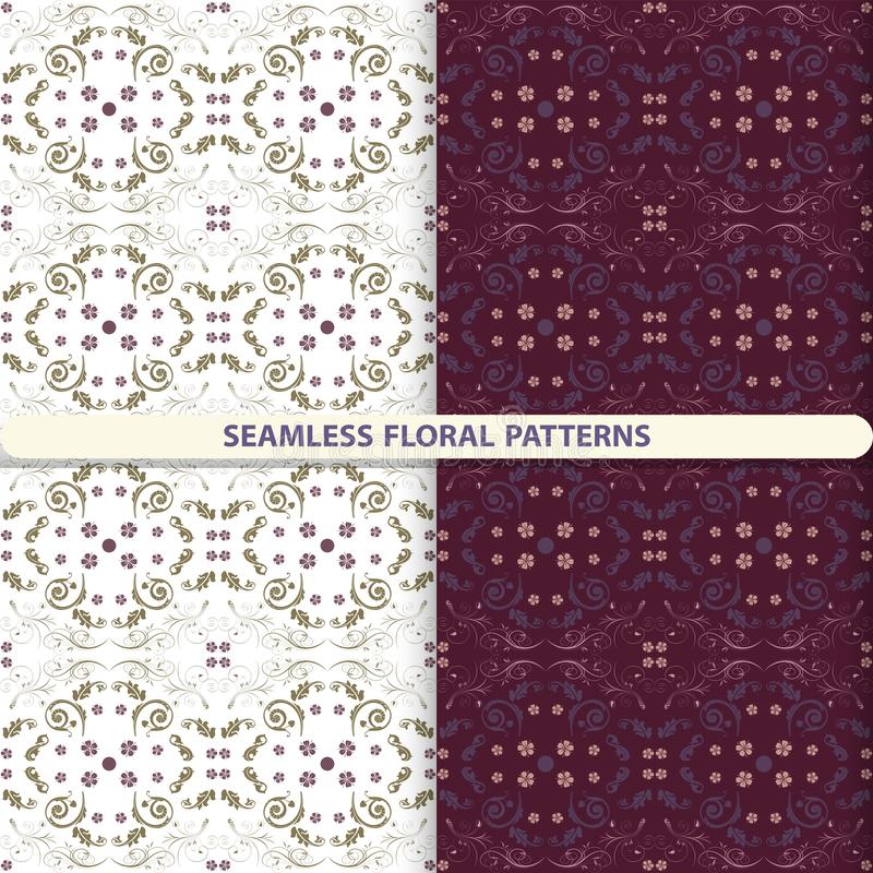 与花卉和植物的元素的无缝的花卉传染媒介样式 孩子的,厨房纺织品,纺织品的印刷品,墙纸de 向量例证