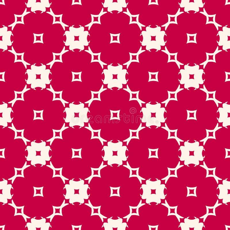 与花卉形状的红色和米黄无缝的样式,锦砖 欢乐假日设计 向量例证