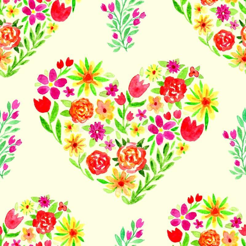 与花卉心脏的春天水彩无缝的样式 妇女天例证 背景横幅开花表单少许桃红色螺旋 向量例证