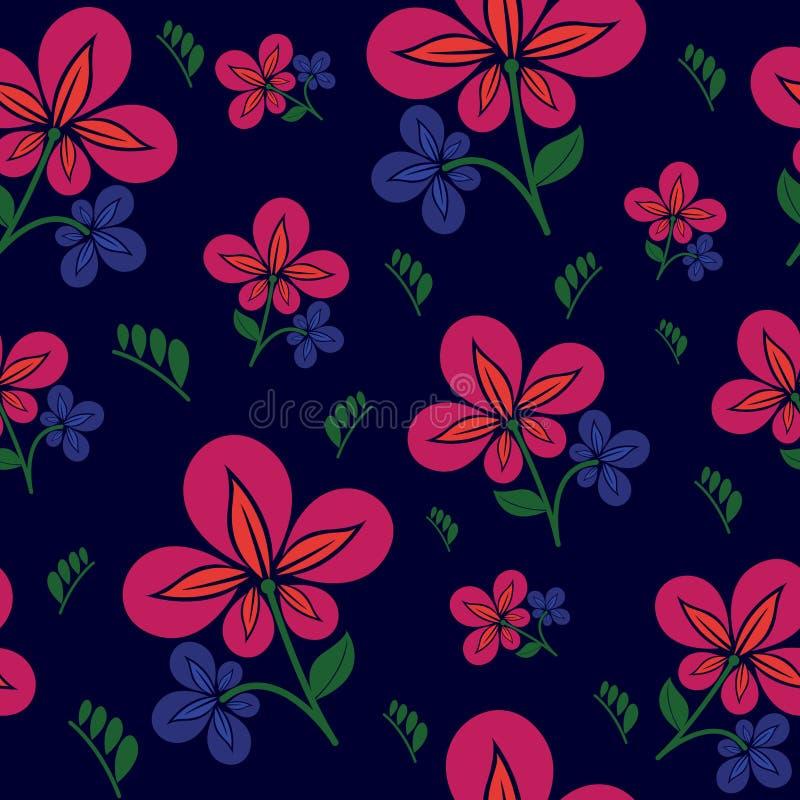 与花卉无缝的有非常美好的颜色的样式和叶子 与花卉夏天和叶子的无缝的样式背景 库存例证