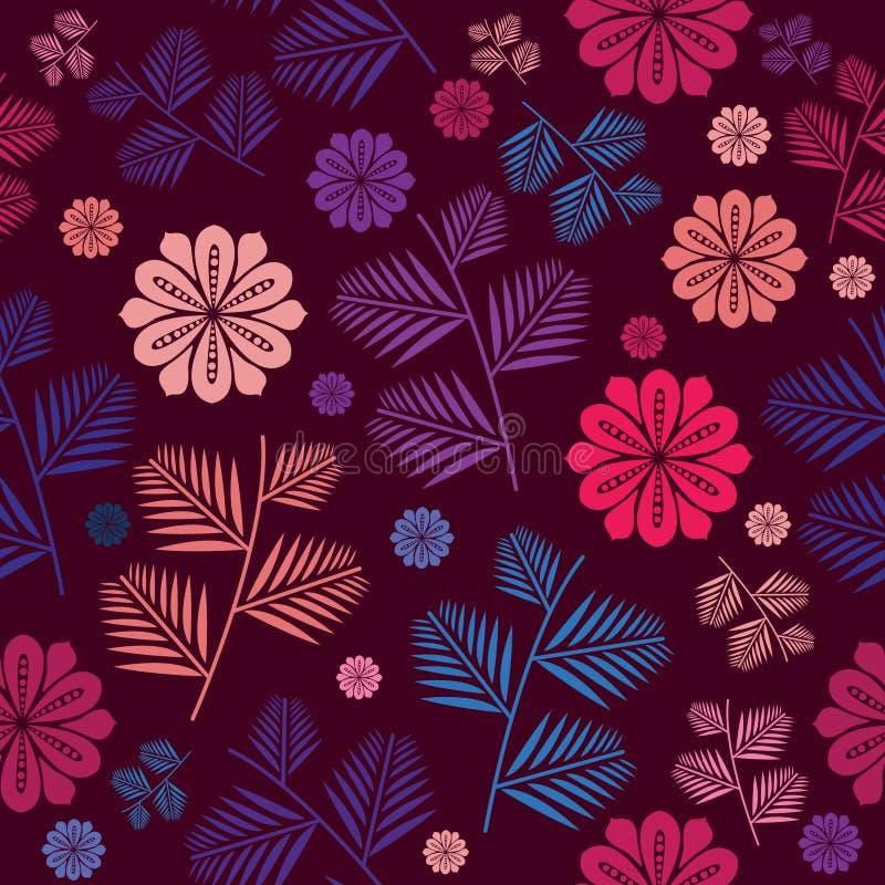 与花卉无缝的有非常美好的颜色的样式和叶子 与花卉夏天和叶子的无缝的样式背景 皇族释放例证