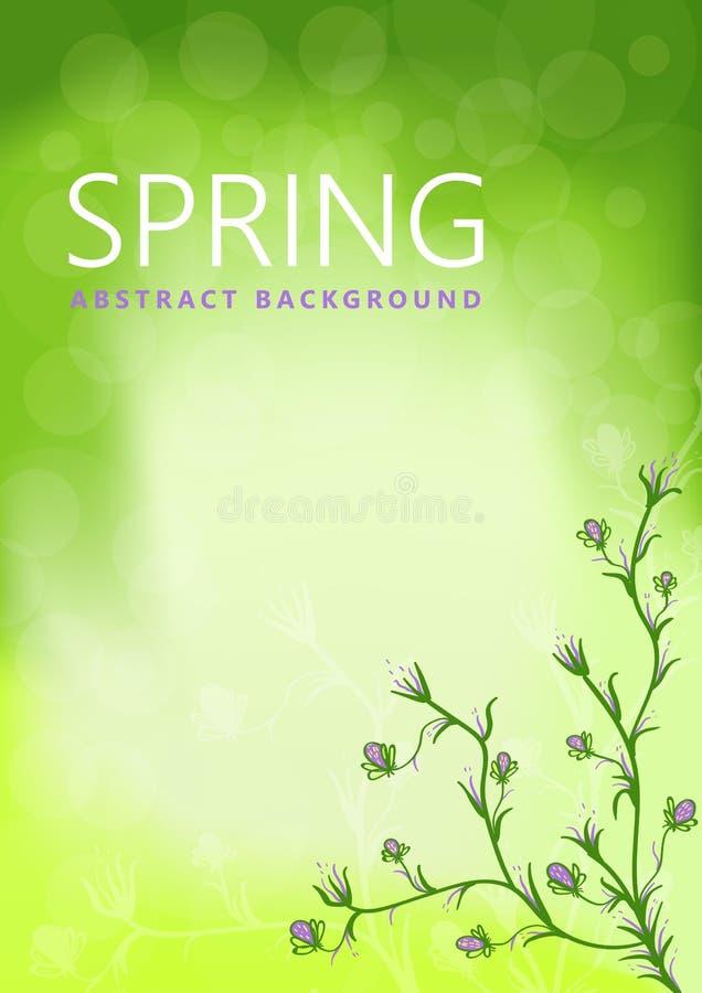 与花卉春天现代时髦在绿色的背景和花 抽象例证 向量例证