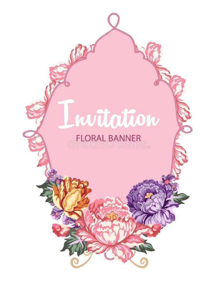 与花卉构成和桃红色横幅的美丽的贺卡 向量例证