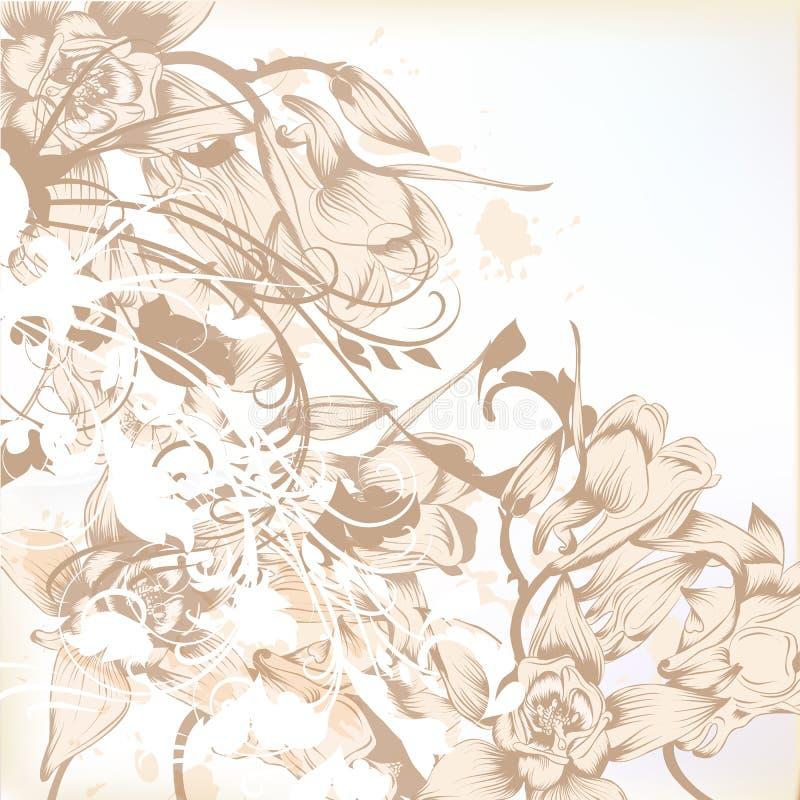 与花卉样式的典雅的婚礼背景设计的 皇族释放例证