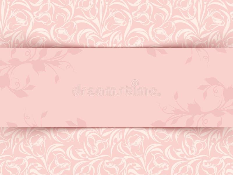 与花卉样式的葡萄酒桃红色邀请卡片 向量EPS-10 库存例证