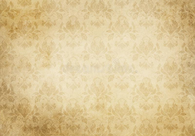 与花卉样式的葡萄酒纸纹理 皇族释放例证
