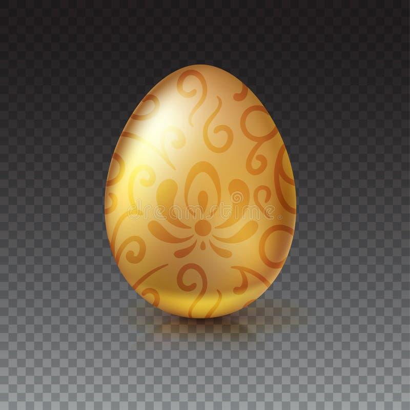与花卉样式的金黄鸡蛋在透明背景 向量例证