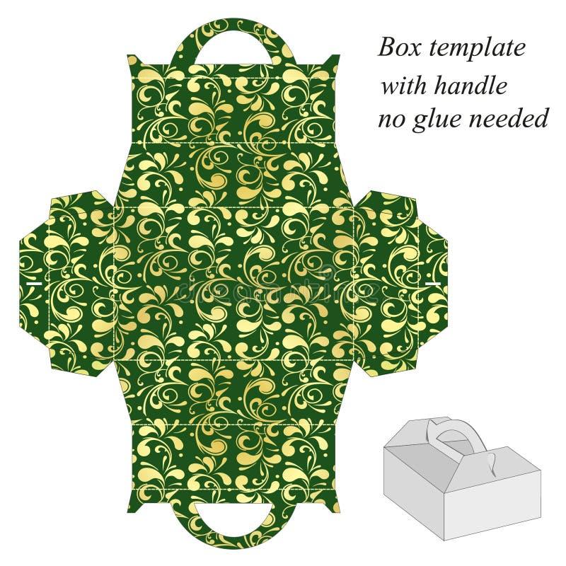 与花卉样式的绿色礼物盒模板 库存例证