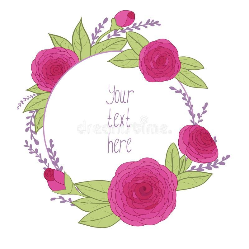 与花卉框架的美丽的贺卡 向量例证